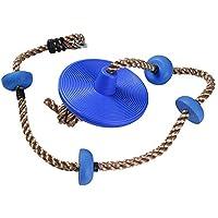 KEBY Asiento de cuerda de escalada con plataformas de disco, soporte de platillo para niños, para patio trasero, azul