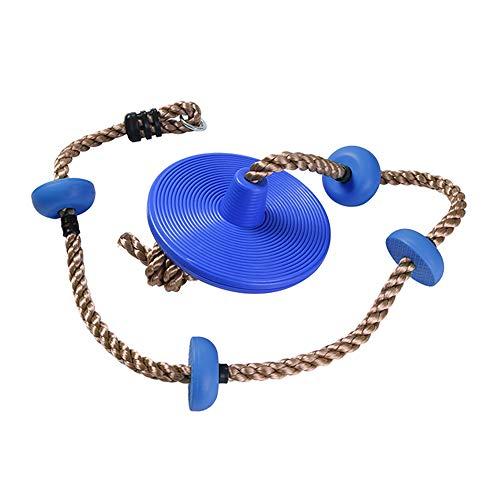 ZZZM Baumschaukel für Kinder, Kletterseil, AFFE, Seil, Baumschaukel für Kinder im Freien, Hängeset mit Fuß-Halte-Platten. blau -
