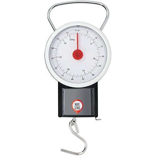 Com-four® bilancia per bagagli fino a 32 kg con display analogico, bilancia per bagagli con nastro di misurazione 1 metro, 19,5 x 7,5 cm (01 pezzo - 32 kg v3)