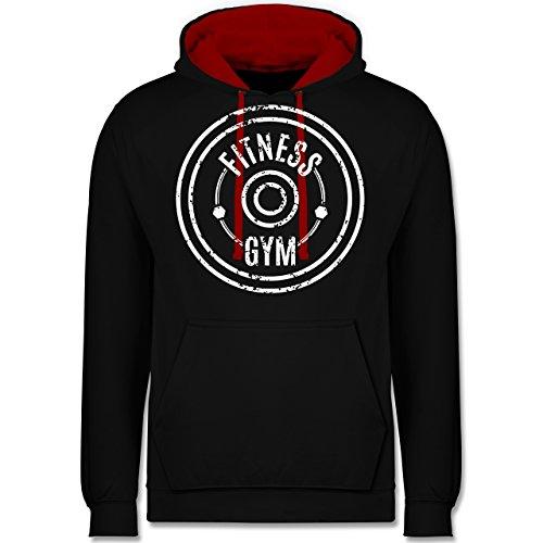 CrossFit & Workout - Fitness Gym - Kontrast Hoodie Schwarz/Rot
