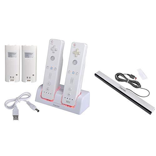 Insten Weis Fernbedienung Dual-Ladestation w / 2 wiederaufladbare 2800 mAh Batterie + Wired Sensor Bar Kompatibel mit Nintendo Wii / Wii U