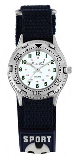 Pacific Time Kinder-Armbanduhr Klettarmband Fußball Jungen Mädchen Uhr Analog Quarz schwarz 20986