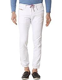 Kozzak White Slim Fit Stretchable Jeans For Men