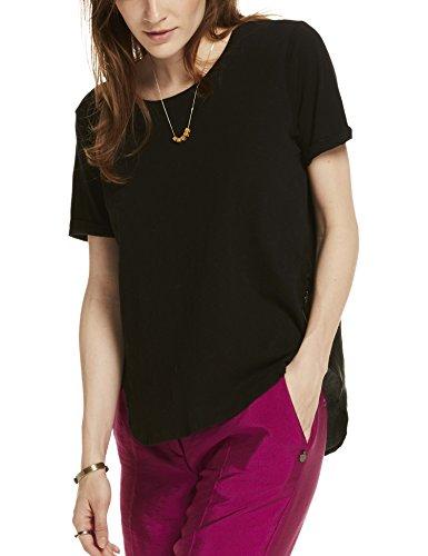 Scotch & Soda Maison Woven & Jersey Mixed Tee, T-Shirt Femme Noir (Black 08)
