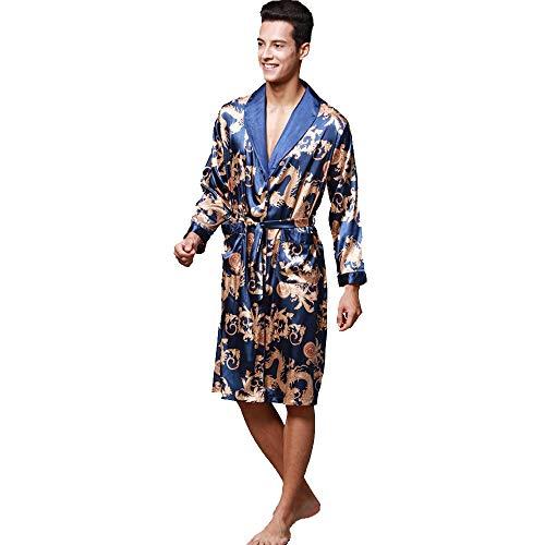 Preisvergleich Produktbild OverDose Boutique Herren Morgenmantel Nachthemd Bademäntel Robe,  Langarm V-Ausschnitt Blumendruck Knielang Leicht Saunamantel und Taschen Hausmantel Pajama Kimono mit Gürtel