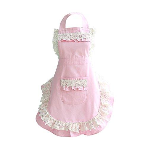 TININNA Damen Frauen Retro Vintage Spitze Baumwolltuch Schürze Küchenschürze Kochschürze Latzschürze Grillschürze Kochen Schürze rosa -