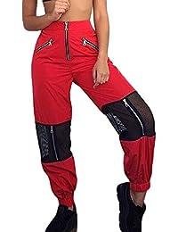e7eccfd0f04ce Sevozimda La Mujer Casual Pantalones Cargo De Malla con Cremallera Longitud  Completa Stich Jogger Pant Pantalón…