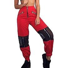 44d490a68e8ca Sevozimda La Mujer Casual Pantalones Cargo De Malla con Cremallera Longitud  Completa Stich Jogger Pant Pantalón