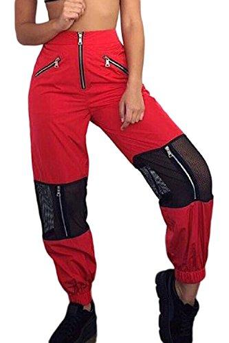 Sevozimda La Mujer Casual Pantalones Cargo De Malla