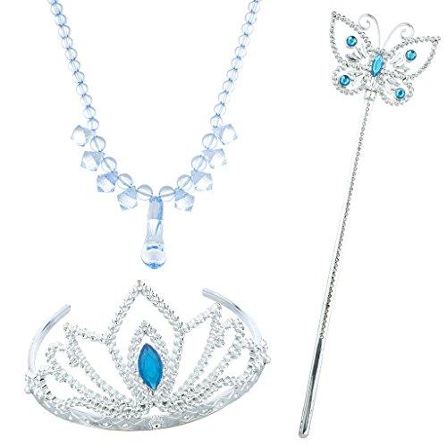 LUX Zubehör Silber Ton Blau Halloween Ice Frozen Princess Kostüm ()