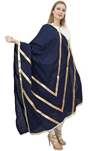 Phagun indischen Frauen Designer Chunni Cotton Dupatta Ethnische Stola Schal-Marine-Blau