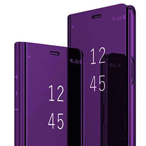 Custodia Compatibile with Samsung Galaxy A6 2018 Cover, Samsung Galaxy A6 Plus 2018 Custodia a portafoglio per Galaxy A6/A6+ Custodia Flip Case Clear View Cover PC Duro Case (Galaxy A6, viola)