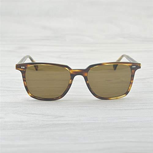 LKVNHP Hohe Qualität Übergroße Quadrat Vintage Klassische Sonnenbrille Opll Retro Sonnenbrille Frauen Männer BrillenVs Braun