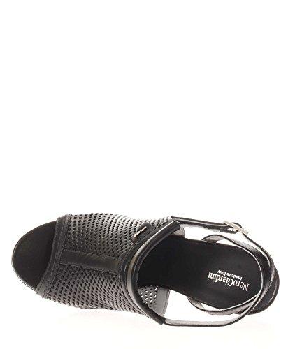 Nero Giardini Sandales À Talons Pour Femmes P717760d-100 Sandales Bandeau Perforées Noires