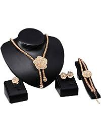 Conjunto de joyas de flores Lover color oro Shinning anillo de la pulsera pendientes colgantes del