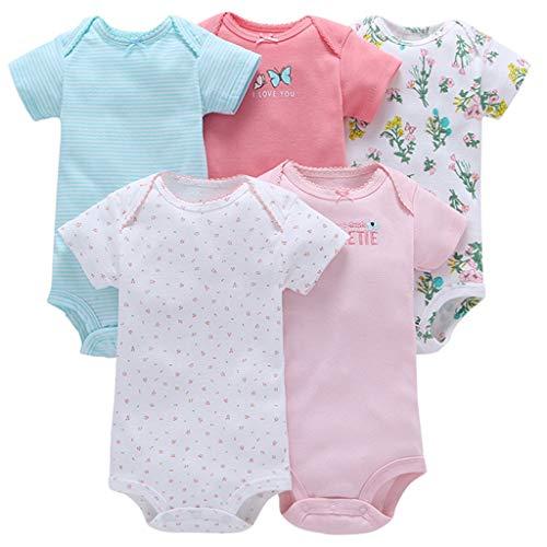 m-Body im 5er Pack Baumwolle Spieler Strampler Schlafanzug Sommer Babybody Spielanzug Schmetterling 12-18 Monate ()