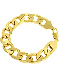 "LUXURY Curb Bracelet - 24 k Gold plated - New - 13mm 9"" Bling solid chunky"