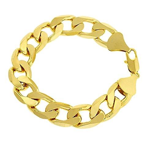 Luxury Curb Bracelet - 18K Gold plated - Mens - 13mm, 8