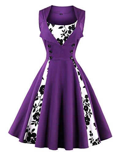 VERNASSA Kleid Damen 50er 60er Jahre, Vintage Ärmellos Retro Elegant Abschlussball Tupfen Baumwolle Swing Kleid für Rockabilly Abend Party Cocktail, Mehrfarbig, S-Plus Größe ()
