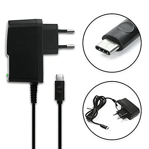 subtel® Qualitäts Ladekabel - 1,2m (2A / 2000mA) für CUBOT Note Plus / Cheetah Phone 2 (5V / USB C) Ladegerät Netzteil Charger schwarz