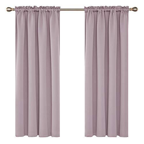 Deconovo tende oscuranti termiche isolanti con passanti per camera da letto 100% poliestere 117x138 cm rosa chiaro due pannelli