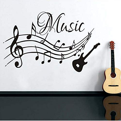 Hohe Qualität Musical Notes Musik Wandaufkleber PVC Abnehmbare Wohnzimmer DIY Kindergarten Wohnkultur Gitarre Wandtattoos Großhandel 93x58 ()