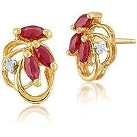 68ccd5b0f Gemondo Ruby Earrings, 9ct Yellow Gold 0.45ct Ruby & Diamond Floral Stud  Earrings
