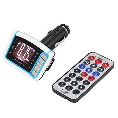 """Reproductor de MP3 para Coche, práctico Kit Manos Libres para automóvil Reproductor de MP3 FM Transmisor modulador USB MMC 1.44"""" LCD con Control Remoto"""