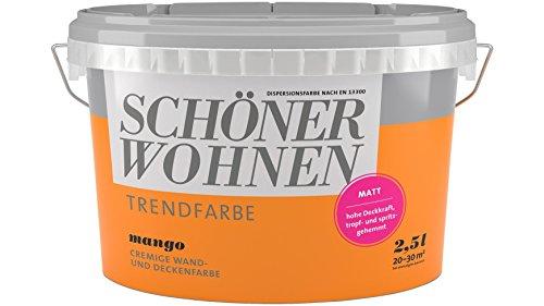 SCHÖNER WOHNEN FARBE Wand- und Deckenfarbe Trendfarbe Mango, matt, 2,5 l 2 l, Mango