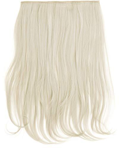 Halskette, Clip-In, Kunsthaar, hitzebeständig, Haar-Extensions, gewellt, Platinblond (Nr. 60,