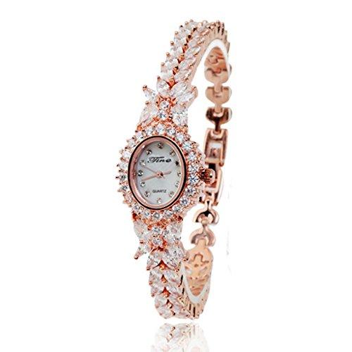 Kqs-xyt diamante alla moda donna multislice rosa oro e argento cinturino di rame impermeabile orologio al quarzo braccialetto , rose gold , female