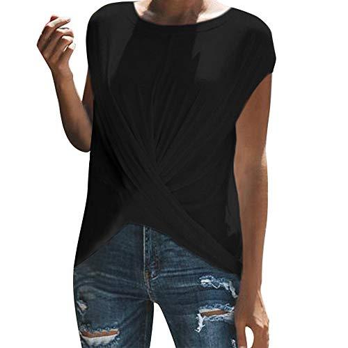 RIVERY Shirt,Damenmode einfarbig plissiert lässig ärmellose Elegante reife Damen cool Wind Rundhals Shirt T-Shirt (Kleidung Junior Bluse)