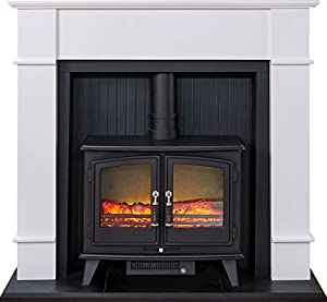 Adam Oxford Stove Suite with Woodhouse Electric Stove, Pure White