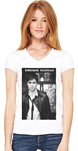 Black Enrique Iglesias Damen V-Ausschnitt T-Shirt X-Large