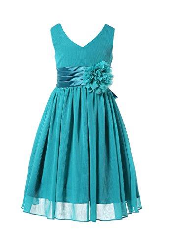 HAPPY ROSE Juniorbrautjungfernkleid Abschlussball-Partykleid Chiffon Pfau Blau 10_Jahre (Pfau Kleider Für Mädchen)