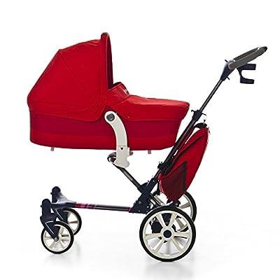 MOBIBE Cochecito Paseo color ROJO. Incluye 3 piezas: Moisés/Capazo + Silleta + Bolso. Carrito bebé compacto, muy completo, ligero, practico y seguro. MOBIBE.KOKETES