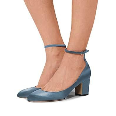 Lutalica Femmes Pointu Toe Ankle Straps Boucle Stiletto Pompes Chaussures Strappy Clouté Sandales à Talons Hauts Lignes Rouge Taille 45 EU a7OQp3id
