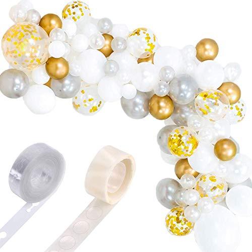112 Stück Balloon Arch Kit Balloon Garland Kit Dekorationen mit Dekorationsgirlande Streifen & Klebepunkte für Hochzeit, Babyparty, Abschlussfeier, Jubiläum, Geburtstag, Party DIY Dekorationen