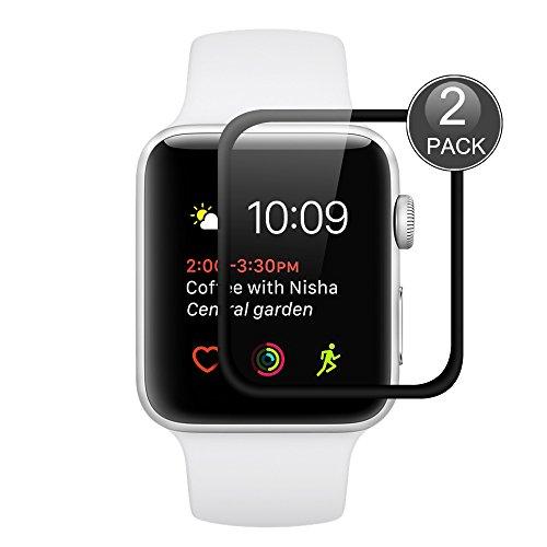 Apple Watch Series 2 38mm Protector de Pantalla, Wrcibo [2 Pack] 3D de cristal templado ultra-delgada cubierta Vidrio Templado Protector de Pantalla Transparente Cristal Anti-scratch Anti-rasguñe Protector de Pantalla para Apple Watch Series 2 [iwatch 38mm]Smartwatch