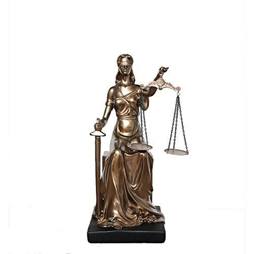 ZYLBS Retro Zuhause Zubehör Skulptur Kreativ Göttin der Gerechtigkeit Harz Statue Wohnzimmer Studie Büro Hotel Kunsthandwerk Geschenk
