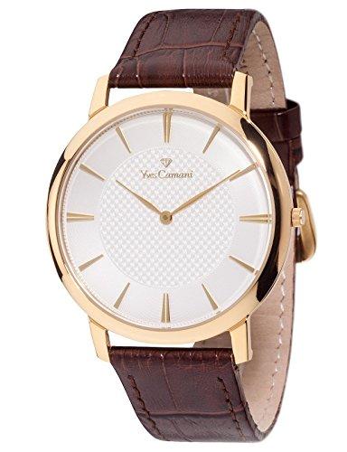 Yves Camani Ciron - Reloj para hombre, color blanco / marrón