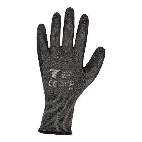 STIER Montagehandschuh | 12 Paar | Flex Grip | Größe 10 | hochwertige Naturlatexbeschichtung | Exzellentes Tastgefühl | Schutz vor Flüssigkeiten und Kälte | hohe Atmungsaktivität
