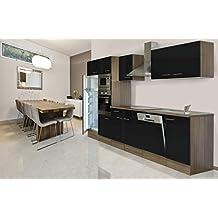 respekta Küchenleerblock Küche Leerblock Küchenzeile 340 cm Eiche York Schwarz