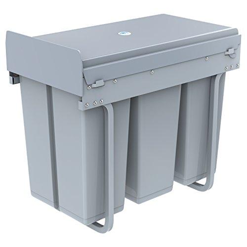 1home–Reciclado M ¨ ¹ lltrennsysteme Swing Cubo de basura M ¨ ¹ lleimer basura–Sistema de 30/40Litros Pedal Función, metal, gris, 30 litros