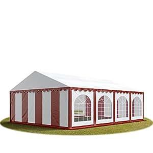 TOOLPORT Festzelt Partyzelt 6x8 m Premium, Hochwertige 500/m² PVC Plane in Rot-Weiß 100% Wasserdicht mit Bodenrahmen