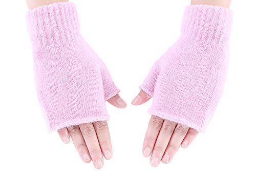 Amorismo Damen Winter Halb Handschuhe Wärmer Strick Kurzer Gestrickte Fingerlose Armstulpen Fäustlinge Rosa