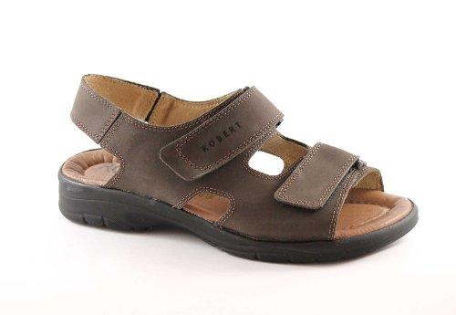 ROBERT 03310 marrone sandali uomo strappi comfort pelle 43
