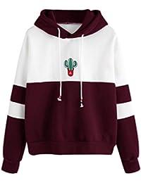 18ee0fb1395f Amlaiworld Sweatshirts Mode Bunt Flickwerk Pulli mit Tasche Langarmshirts  Damen Sport Locker Sweatshirt Weich Winter Herbst