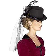 Smiffy s Smiffys-48413 Sombrero de Copa Victoriano para Mujeres Deluxe ce2617f27a0