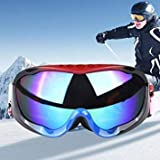 H005 Unisex Dual Layers Anti-Fog Windprooof UV Protection Spherical Goggles with Adjustable Widened Strap (Red+Black+Blue)